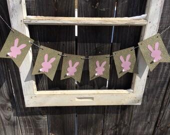 Bunny Nursery Banner, Easter Bunny Banner, Easter Decoration, Spring Decor