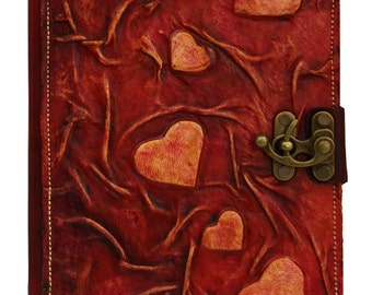 Valentines Hearts Embossed Refillable  Leather Journal Notebook Diary Sketchbook Handmade