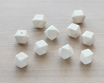 10 pcs of Cream Polygon Geometric Faceted Silicon Beads - 17 mm