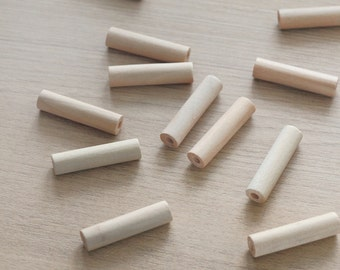 Tube Geometric Wood Beads for making jewlery - 5 pcs of unfinished raw wooden pendants -  40mm