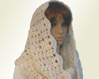 INFINITY Scarf Hood Cowl Knit Scarf,Crochet Lace Fishermans Cream Almost White Eternity Loop Infiniti Shoulder Wrap Church Head Cover Scarf