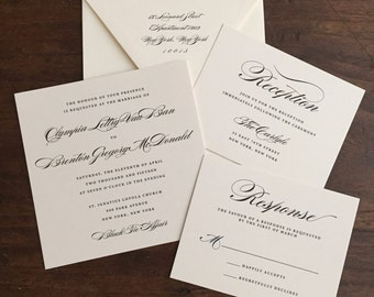 Wedding Invitation Suite // Black and Cream // Purchase this Deposit to Get Started