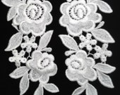 White Venise Rose Flower Lace Applique Pair for Bridal or Crafts