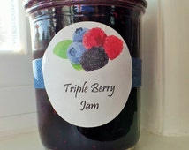 Triple Berry Jam: Blackberries, Raspberries, Blueberries, Home Made Half Pint Jar