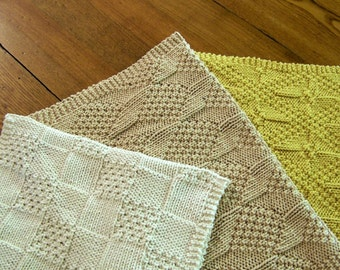Knitting Pattern - Really Reversible Towels - Directions for 3 towels in 2 sizes