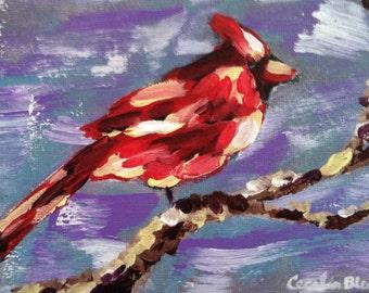 Male Cardinal Original Acrylic Painting
