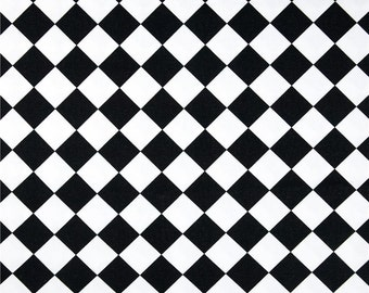 Drapery Fabric, Upholstery Fabric, Diamond Fabric, Harlequin Fabric, Black/White Craft/Sewing Material, Pillow/Slip Cover Fabric Yardage