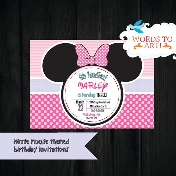 CUSTOM Minnie Mickey Mouse Birthday Party Invitations Made To Order Customizable