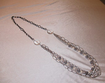 Handmade Vintage Multi-Chain with Crystal and Faux Pearl
