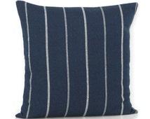 Navy Blue Stripe Pillow Cover Decorative Throw Toss Accent Couch Sofa Pillow 12x20 22x22 24x24 26x26 Zipper