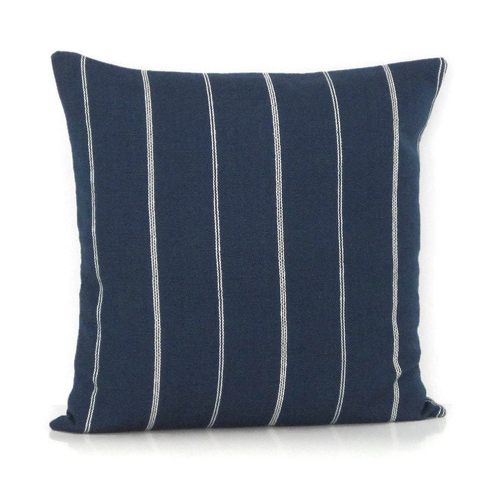 Throw Pillows Navy Blue : Navy Blue Stripe Pillow Cover Decorative Throw Toss Accent