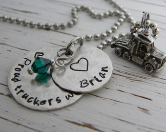 Proud Truckers Wife necklace - emerald crystal - hand stamped - distressed - heart - semi truck - you choose bead color - personalized