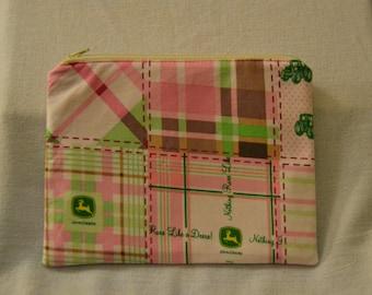 John Deere Pink Quilt Pattern Zipper Pouch