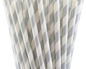 Set of 25 Metallic Silver and White Striped Paper Straws