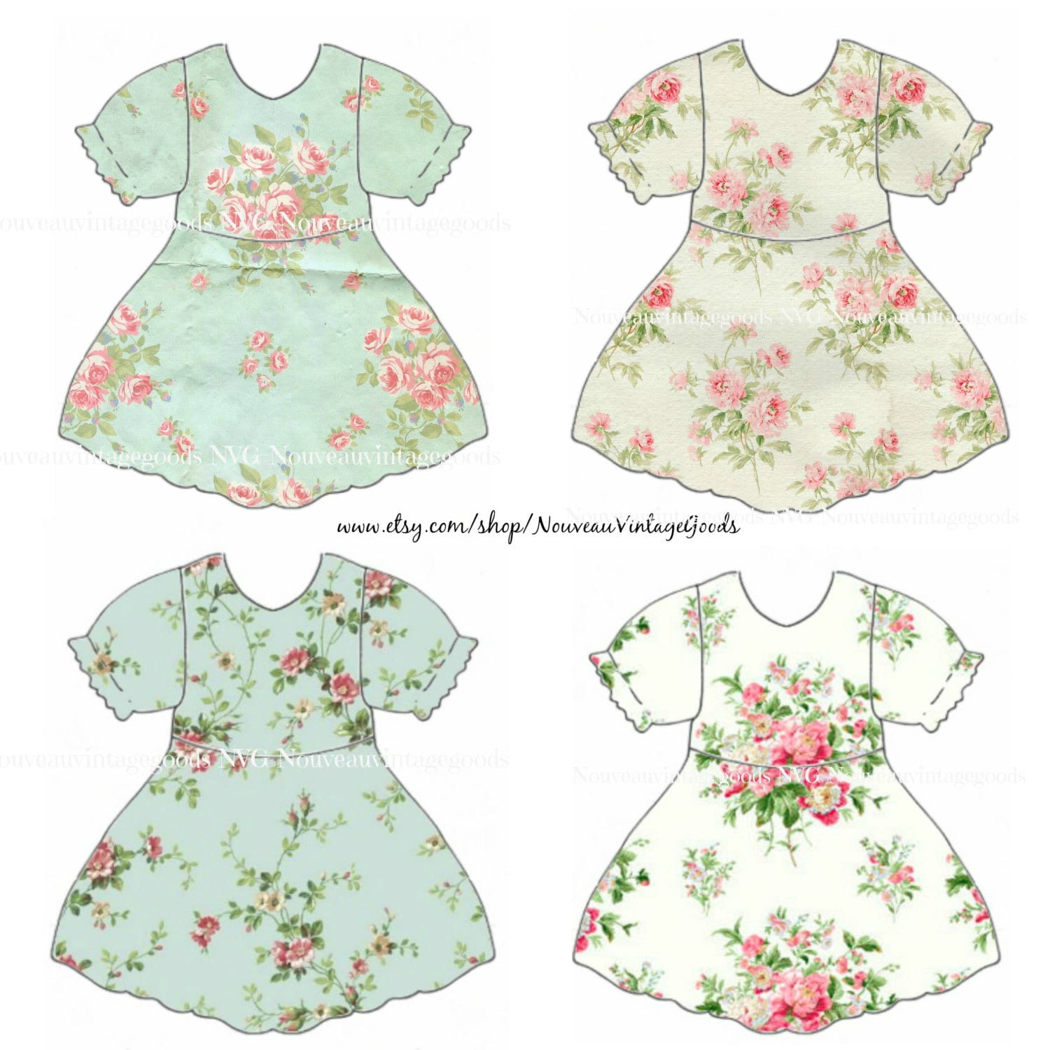 VINTAGE DIGITAL DRESS Baby Girl Dress Clipart Babydoll Collage Sheet Scrapbook Supply Printable Download File