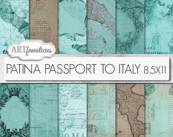 "Maps 8.5x11 digital papers, ""PATINA PASSPORT to ITALY 8.5x11"" Italian, Italy, travel backgrounds,patina, sepia,vintage map,passport, postage"