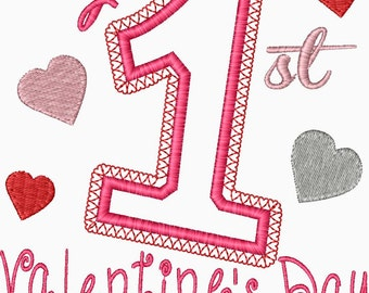 My First Valentine's Day Embroidery Applique Design Baby's first valentine's day