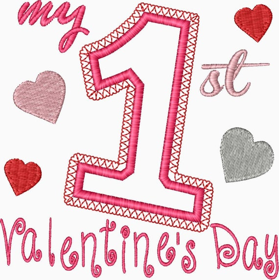 my first valentines day embroidery applique design babys first valentines day - First Valentines Day