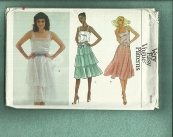 1970's Vogue 7679 Flared Ruffled Tier Skirts Prairie Chic Size 14 UNCUT