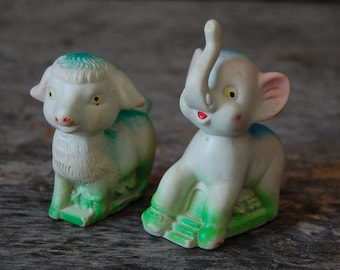 pair of vintage rubber squeeze toys - lamb and elephant - midcentury baby squeak toys