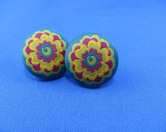 Embroidered Button Earrings