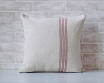 Decorative throw pillow made from grain sack fabric to add to your home decor for a beautiful french farmhouse feel.  Many sizes available