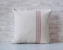 Decorative throw pillow cover, grain sack fabric, grainsack, home decor, home and living, french farmhouse, throw pillow cover