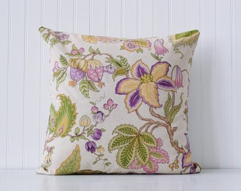 Trendy orchid pillow, decorative throw pillow cover in purple, yellow and greens