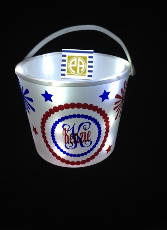Personalized  bucket, party favor, Light up bucket, monogram bucket, Fourth of july, camping, movie party, children personalized bucket