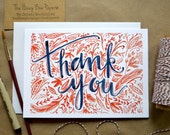 Watercolor Thank You Card/ Hand-Painted Greeting Card/ Blank Thank You Card- 5x7