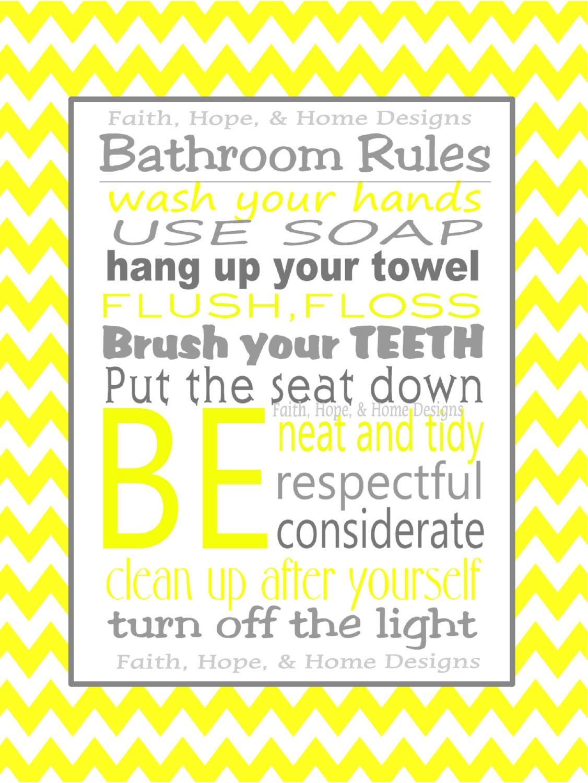 Gray And Yellow Chevron Bathroom Rules Wall Art Poster 8x10 Digital Art  Download Printable E Print Print