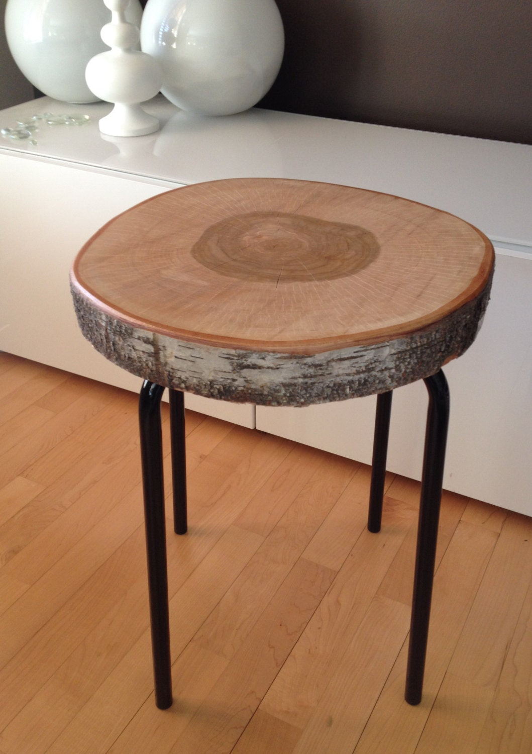Stump table with metal legs wood metal side tables birch for Wood stump end table