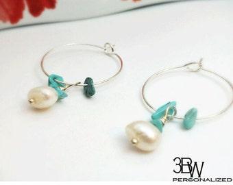 Pearl and Turquoise Loop Earrings