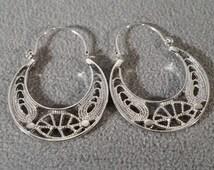 Vintage Silver Scrolled Large Fancy Scrolled Etched Filigree Hoop Earrings
