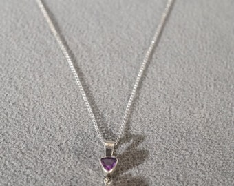 Vintage Sterling Silver Trillion Marquise African Amethyst Dangle Pendant Charm Necklace Chain     #404