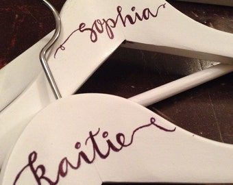 Personalized Dress Hanger | White | For Bridesmaids, Brides, or Graduates