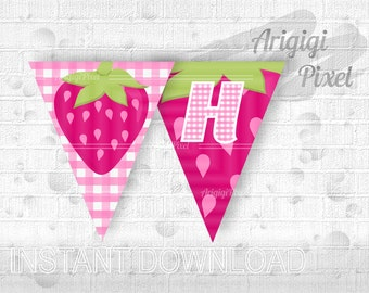 Strawberry Garland Happy Birthday - printable pink girl birthday party banner - spring summer decoration - PDF download