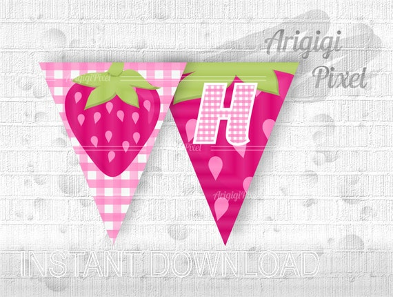 Printable Strawberry Happy Birthday party banner - hot pink - girl birthday