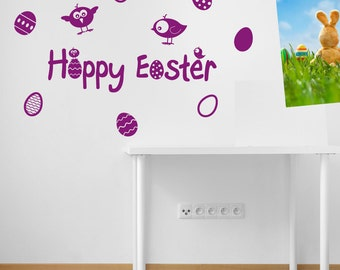 Easter Eggs Wall Stickers Kids Nursery Play Room Home Art Decoration Children Decals Removable Handmade School Bedrooms Bright VC-A147