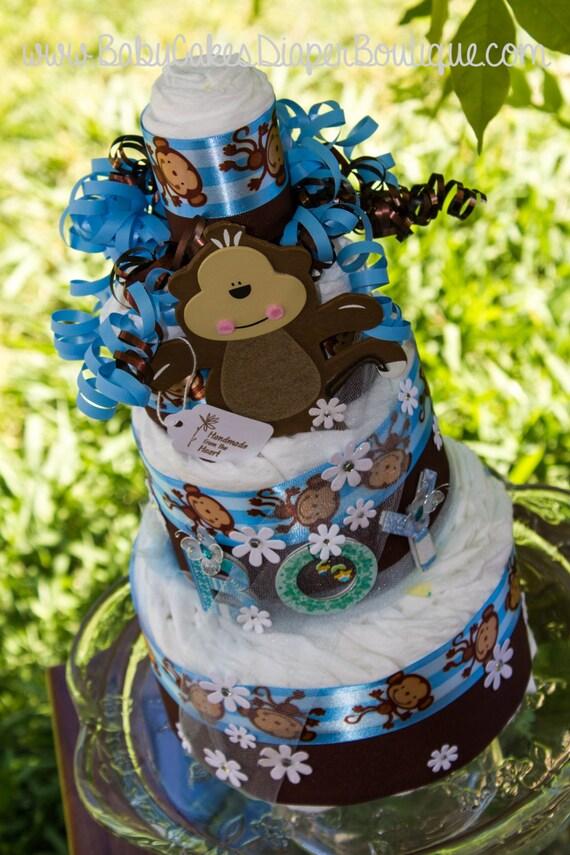 Monkey Baby Shower - Diaper Cake - Monkey Boy Diaper Cake - Blue and Brown Monkey Diaper Cake - It's a Boy