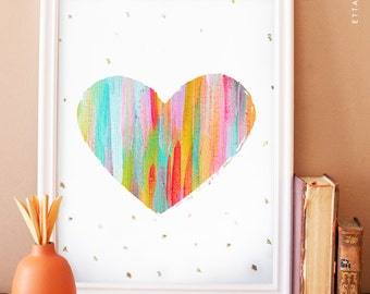 Painted heart art print. abstract art. home decor. wall art. Abstract love. colorful heart