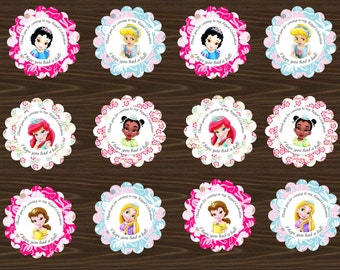 INSTANT DOWNLOAD Printable Disney Princess Cupcake toppers/favor tags (little princesses) cinderella tiana, snow white, ariel rapunzel,belle