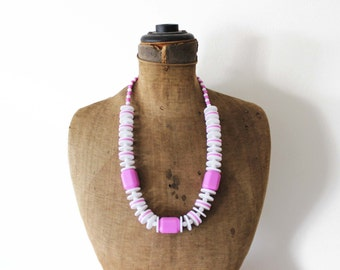 Long White Bead Necklace, Chunky White and Purple Necklace, White and Purple Bead Necklace, Chunky Purple Necklace