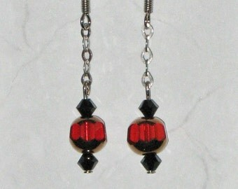 Red & Black Crystal Earrings