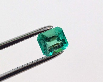 7 X 6mm 1.24ct  Emerald Cut Natural Colombian Emerald Loose Gemstone