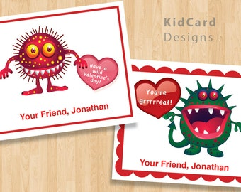 Printable Monster Valentine Cards, Personalized Instant Download and Editable Kid's Scary Valentines, Digital Children, Boy or Girls Cards