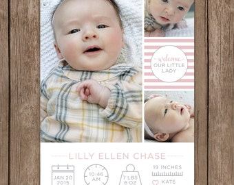 Modern Baby Announcement. Infographic Birth Announcement. Digital Photo Baby Announcement. Custom Birth Announcement. DIY Printable.