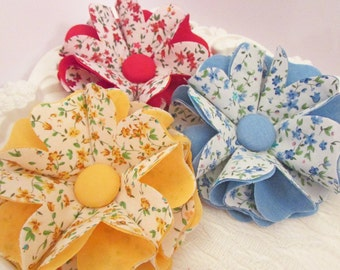 Bright Coloured Fabric Flower in Three Designs - DFF101 Hair accessories Home Decor Brooch Bags Hats Crafts Kids Blog Giveaway Scrapbooking