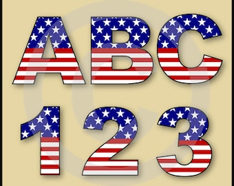 Stars & Stripes Alphabet Letters and Numbers Clip Art Graphics