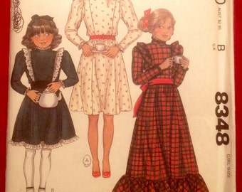 Vintage Girl's Prairie Dress Pattern / McCall's 8348, size 7, leg-o-mutton sleeves, unused